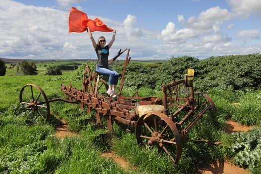 Rusty farm plough machine in country NSW