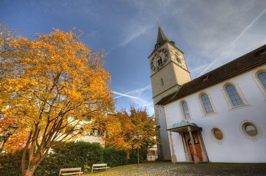 Church in Zurich, Switzerland at autumn