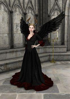 3D digital render of an evil queen on a fantasy castle background