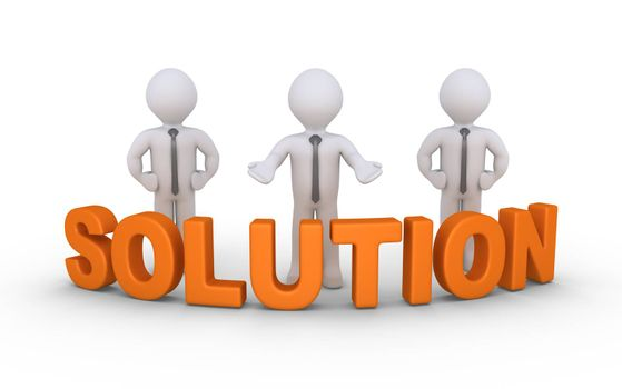 Businessmen are standing behind a Solution word