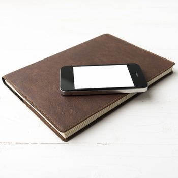 cellphone and notebook
