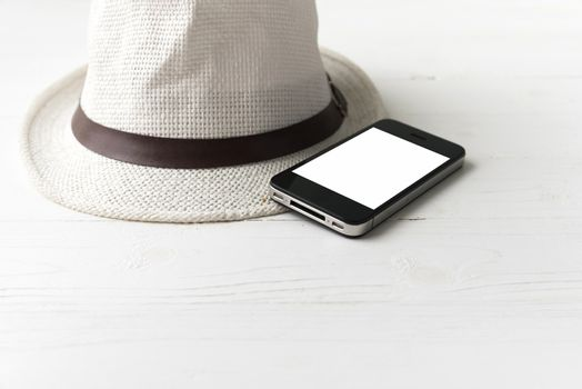 cellphone and hat