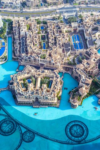 View on Dubai from the highest tower in the world, Burj Khalifa