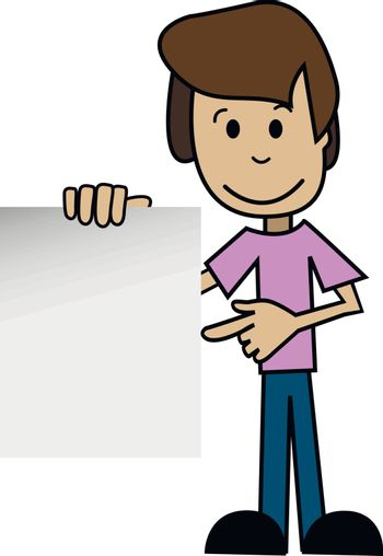 Illustration of a cartoon man with white background