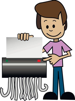 Illustration of a cartoon man with shredder