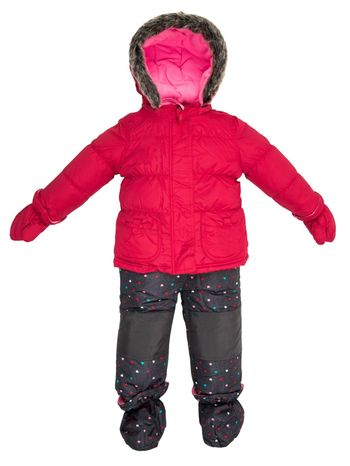 Childrens snowsuit fall on a white background