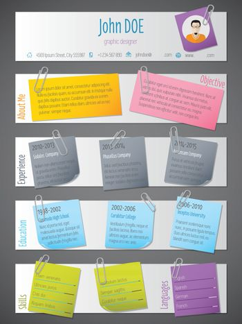 Modern resume cv template with post its and color tapes