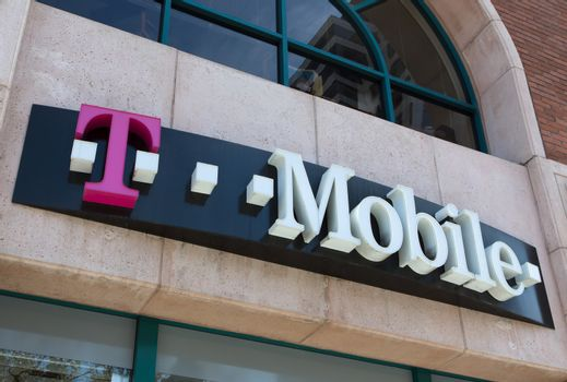 GLENDALE, CA/USA - OCTOBER 24, 2015: T-Mobile store exterior and sign. T-Mobile International is a German mobile communication company.
