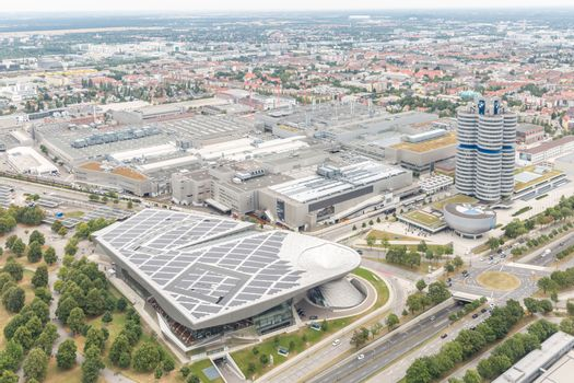 MUNICH, GERMANY - AUG 1, 2015: Aerial view of Munich with BMW buildings from Olympic communication tower on August 1, 2015 in Munich, Germany