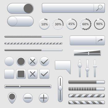 Set of stylish various web elements, vector illustration.