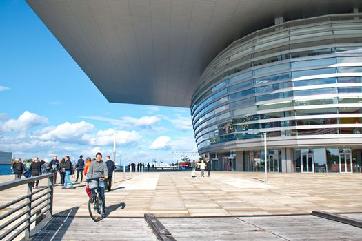 COPENHAGEN, DENMARK - SEPTEMBER 18: The Copenhagen Opera House, designed by Henning Larsen on September 18, 2015. It is located on the island of Holmen in central Copenhagen.