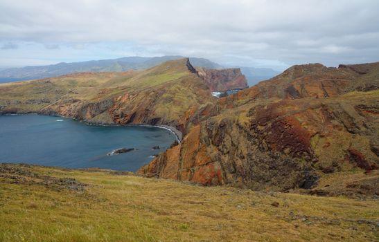 Cape Ponta de Sao Lourenco, the most eastern edge of Madeira island, Portugal, on cloudy day