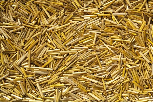 yellow dry straw cut on pieces as background