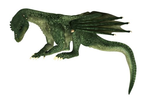 3D digital render of a green fantasy dragon isolated on white background