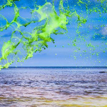 Green water splash