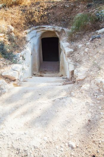 entrance to the cave chalk