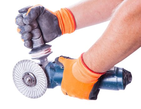 man holding a circular saw with two hands