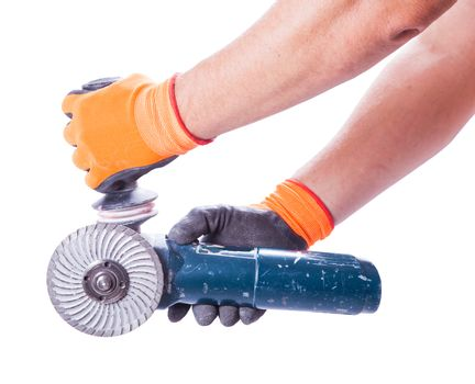 two male hands holding circular saw