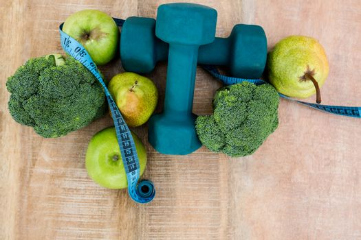 Ingredients for a healthy lifestyle on wooden table