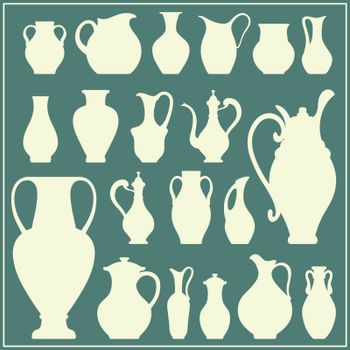 Vector silhouettes of vases. Isolated crockery