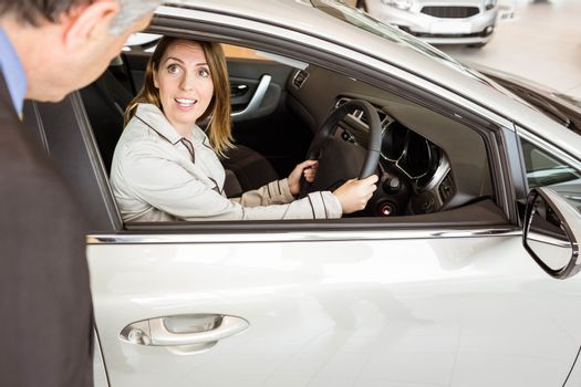 A customer try a car