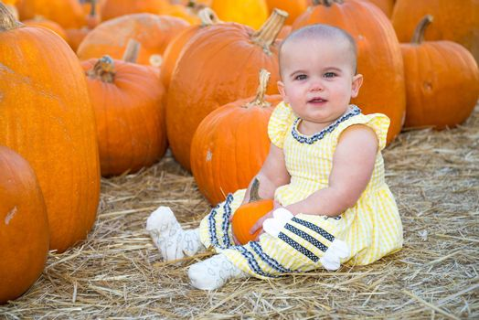 Cute Baby sitting in a Pumpkin Patch