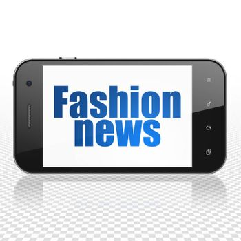 News concept: Smartphone with  blue text Fashion News on display,  Tag Cloud background