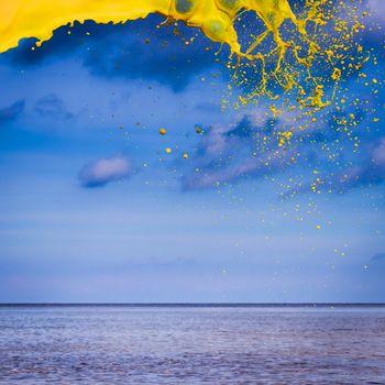 Yellow water splash