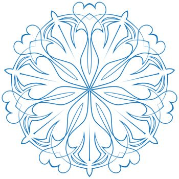 vector snowflake blue flower on a white background