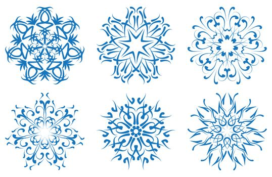 vector snowflake blue flower on a white background. set