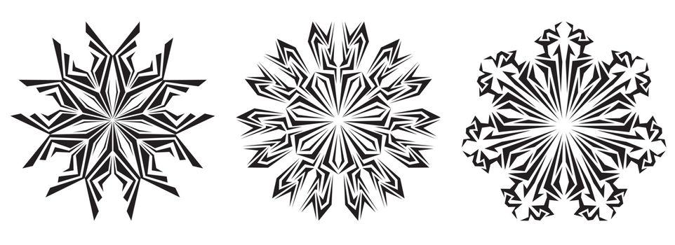 original vector decorative snowflake on a white background. set