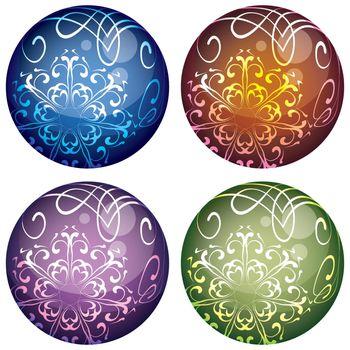 vector set of four multicolored decorative Christmas balls