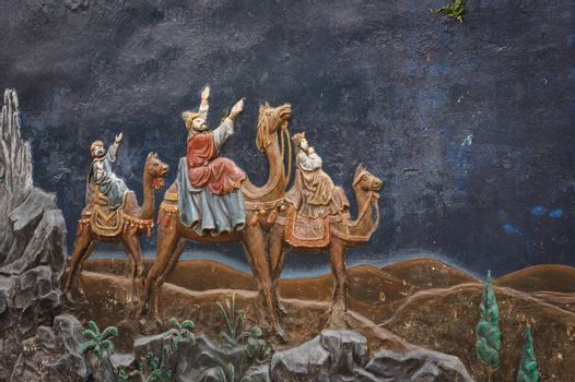 Jesus Christ stucco history in the St. Joseph's Cathedral in Hoan Kiem Hanoi, Vietnam.