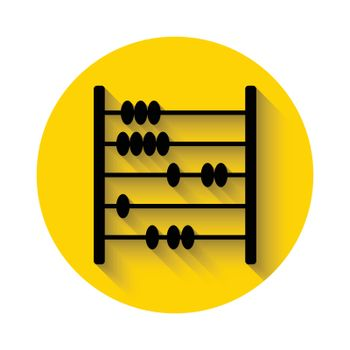 abacus flat icon with long shadow isolated on yellow background