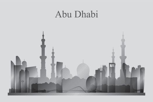 Abu Dhabi city skyline silhouette in grayscale