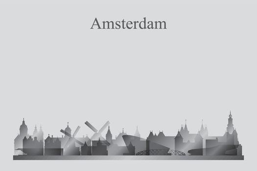 Amsterdam city skyline silhouette in grayscale
