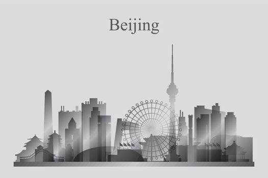 Beijing city skyline silhouette in grayscale
