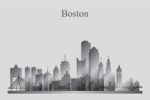 Boston city skyline silhouette in grayscale
