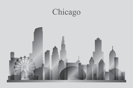 Chicago city skyline silhouette in grayscale