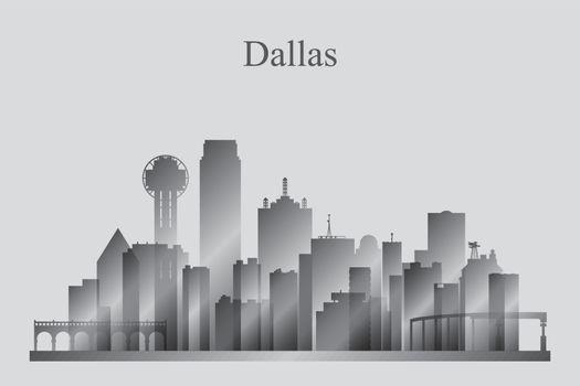 Dallas city skyline silhouette in grayscale