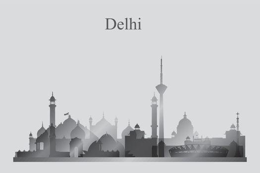 Delhi city skyline silhouette in grayscale