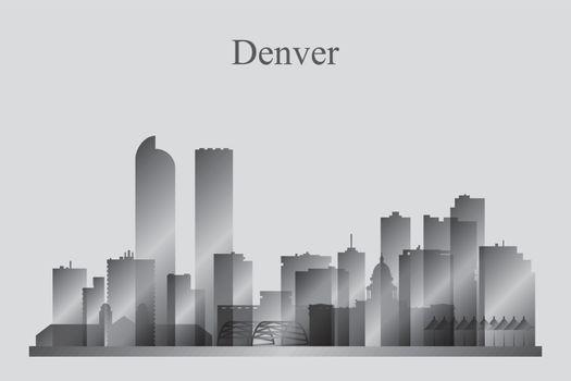 Denver city skyline silhouette in grayscale