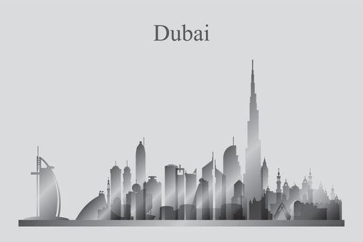 Dubai city skyline silhouette in grayscale