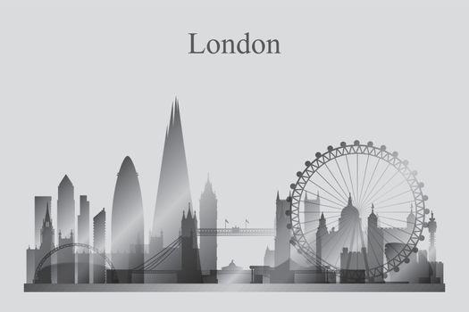London city skyline silhouette in grayscale