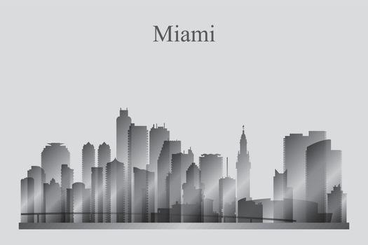 Miami city skyline silhouette in grayscale