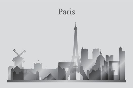 Paris city skyline silhouette in grayscale