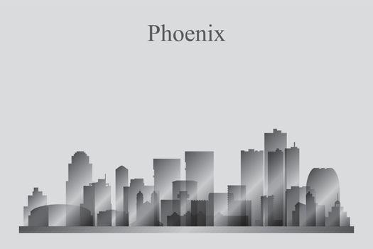 Phoenix city skyline silhouette in grayscale