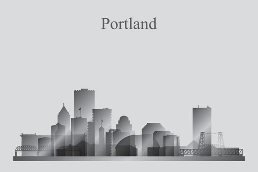 Portland city skyline silhouette in grayscale
