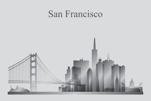 San Francisco city skyline silhouette in grayscale