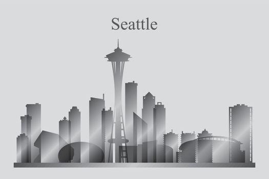 Seattle city skyline silhouette in grayscale